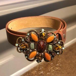 Leatherlock genuine leather jeweled buckle belt L